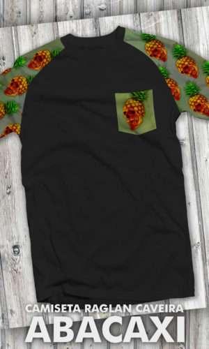 Camiseta – Caveira Abacaxi Raglan