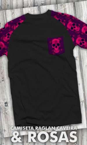 Camiseta – Caveira e Rosas Raglan