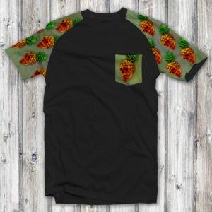 Camiseta Caveira Abacaxi Raglan