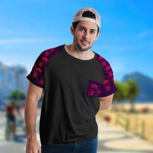 Camiseta Caveira e Rosas Raglan